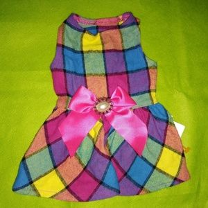 Multi Colored Checkered Pet Dress
